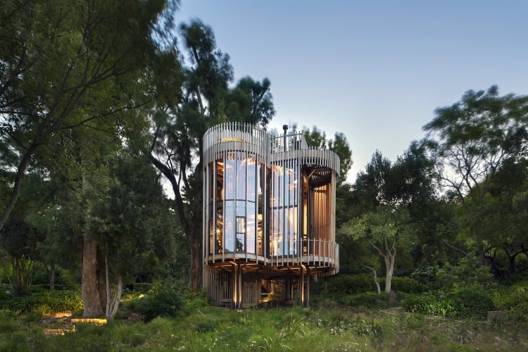 Inspired by the trees on the estate, the client requested a cabin-like, one bedroomed hide-away