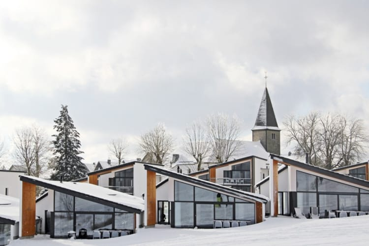 A view of the villas in winter