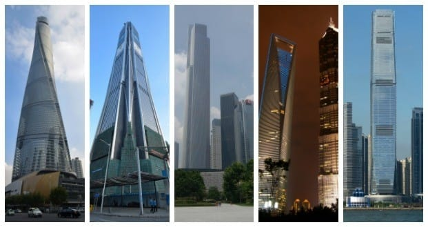 The five tallest buildings in China
