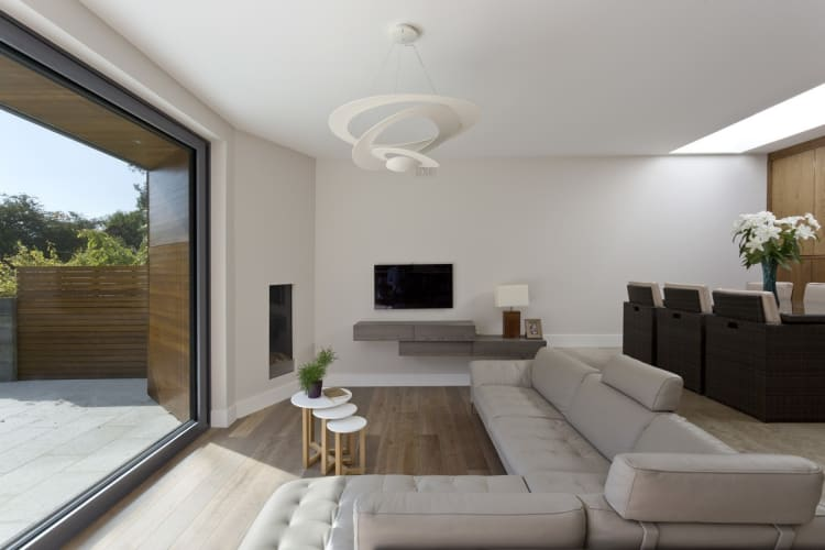 An open living area features an eye-catching centrepiece
