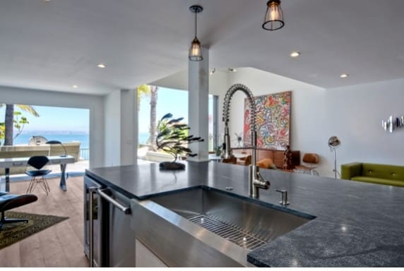 The remodelled kitchen features views out to the sea