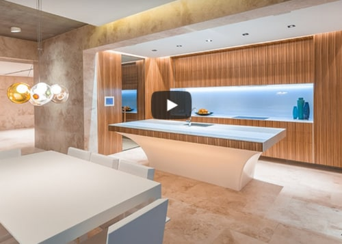 Sculptural kitchen island with LED lighting