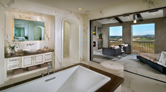 Indoors and outdoors blur in this bathroom suite ceiling, home, interior design, interior designer, living room, loft, real estate, room, wall, gray