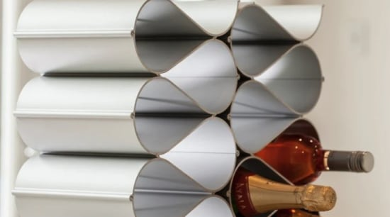 The Echelon modular wine storage system makes it countertop, furniture, interior design, kitchen, table, white, gray