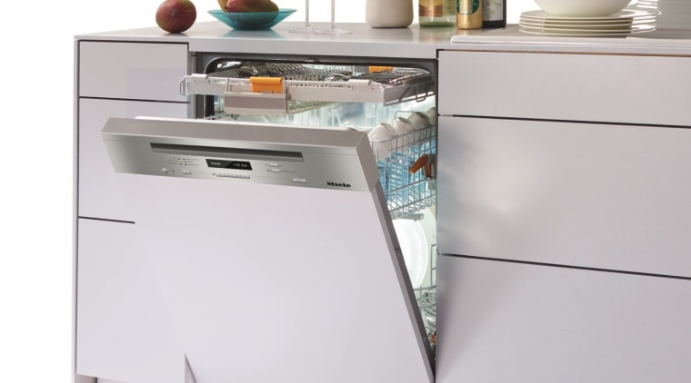 A fully integrated dishwasher from Miele See more architecture, furniture, home, home appliance, house, interior design, table, window, white