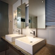 The view of his and hers basins of architecture, bathroom, countertop, floor, interior design, product design, room, sink, gray, black