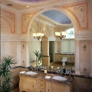 A luxury bathroom reflected by the mirror - bathroom, cabinetry, ceiling, countertop, cuisine classique, estate, home, interior design, room, window, brown, gray