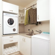 Fisher & Paykel Intuitive Eco washer and Autosensing clothes dryer, home appliance, kitchen, laundry, laundry room, major appliance, room, washing machine, white