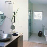 Overview of the bathroom - Overview of the bathroom, bathroom accessory, home, house, interior design, room, sink, window, gray