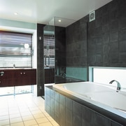 The shower & bathtub of this bathroom - bathroom, interior design, property, room, tile, white, black