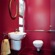 A bright, colourful bathroom - A bright, colourful bathroom, bathroom accessory, interior design, plumbing fixture, purple, red, room, toilet, toilet seat, red