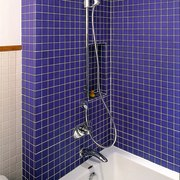 View of the children's bathroom shower - View bathroom, blue, glass, interior design, plumbing fixture, purple, room, tile, blue, white