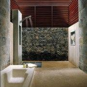 Looking into the shower - Looking into the architecture, house, interior design, wall, brown, gray