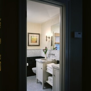 Outside view of the bathroom - Outside view home, interior design, room, window, black, gray