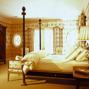 The edwardian-style master suite - The edwardian-style master bed, bed frame, bedroom, ceiling, couch, curtain, estate, four poster, furniture, home, interior design, room, suite, textile, wall, window, window treatment, wood