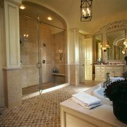 The large shower that blends with the rest bathroom, ceiling, estate, floor, flooring, home, interior design, real estate, room, brown
