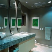 The guest bathroom with a countertop angled in bathroom, ceiling, countertop, glass, interior design, room, sink, black, gray