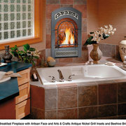 View of this bathroom with a gas fireplace bathroom, countertop, flooring, home, interior design, room, wall, brown, gray