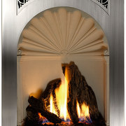 A gas fireplace - A gas fireplace - fireplace, hearth, heat, white