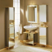 A bathroom with an original concept - A bathroom, bathroom accessory, bathroom cabinet, floor, flooring, interior design, plumbing fixture, product design, sink, brown, white