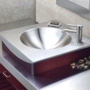 View of this stainless-steel hand basin - View bathroom sink, ceramic, plumbing fixture, product design, sink, tap, gray
