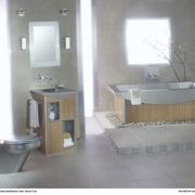 A contemporary bathroom with many design elements - bathroom, bathroom accessory, bathroom cabinet, bathroom sink, floor, interior design, plumbing fixture, product, product design, property, room, sink, gray, white
