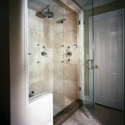 Close-up view of this magnificant shower - Close-up bathroom, door, floor, glass, home, interior design, plumbing fixture, room, shower, tile, wall, gray, black