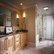 View of the shower & cabinetry - View bathroom, cabinetry, ceiling, countertop, floor, flooring, home, interior design, kitchen, real estate, room, gray, brown