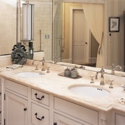 A twin sink vanity unit - A twin bathroom, bathroom accessory, cabinetry, countertop, interior design, kitchen, room, sink, gray