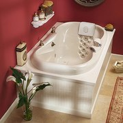 A whirlpool bath - A whirlpool bath - bathroom, bathroom sink, bathtub, ceramic, floor, plumbing fixture, product design, sink, tap, toilet seat, red, gray