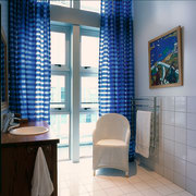 View of the bathroom & it's windows - bathroom, blue, curtain, interior design, room, window, window covering, window treatment, gray