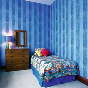 Bright, Colourful bedroom - Bright, Colourful bedroom - bed, bed frame, bed sheet, bedding, bedroom, blue, ceiling, curtain, duvet cover, home, interior design, linens, product, purple, room, textile, wall, wallpaper, window, window covering, window treatment, teal, blue