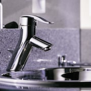 Close-up view of the sink & faucet - plumbing fixture, product design, tap, gray