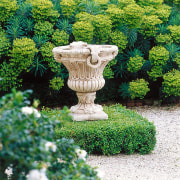 Large urn features on boxed hedge base on flowerpot, garden, grass, houseplant, landscaping, plant, shrub, tree, green