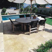 Outdoor dining table and chairs with umbrella next backyard, chair, flagstone, floor, flooring, furniture, outdoor furniture, outdoor structure, patio, sunlounger, table, walkway, white, black