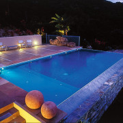 View of blue pool in evening, with different indoor games and sports, leisure, lighting, pool, sport venue, swimming pool, water, black, blue