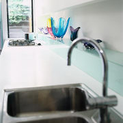 The detail of a sink and benchtop - countertop, plumbing fixture, product design, room, sink, table, tap, white