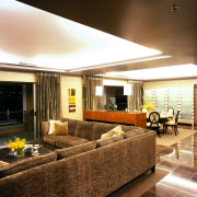 View of the living area - View of ceiling, interior design, living room, lobby, real estate, room, brown