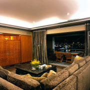 View of the lounge - View of the ceiling, home, interior design, lighting, living room, real estate, room, wall, window, brown, orange