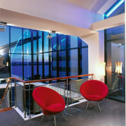 View of the sitting area - View of architecture, ceiling, glass, interior design, real estate, table, wall, window, gray