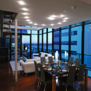 Overall view of the dining & lounge - ceiling, dining room, interior design, living room, restaurant, room, window, black, gray