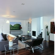 View of the living area - View of ceiling, furniture, interior design, living room, real estate, table, wall, gray, black