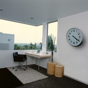 View of the study room - View of architecture, floor, furniture, house, interior design, product design, table, window, gray