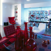 View of the living area - View of blue, interior design, living room, red, room, table, red