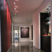 View of the hall - View of the ceiling, floor, interior design, lobby, wall, gray, black, red