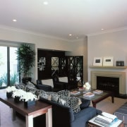 View of the living room - View of ceiling, home, interior design, living room, property, real estate, room, gray, black