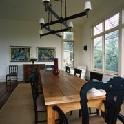 The view of the dining room from one dining room, furniture, interior design, real estate, room, table, black, brown