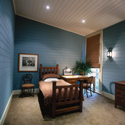 The view of a bedroom - The view ceiling, floor, home, interior design, living room, real estate, room, wall, wood, black