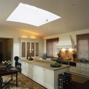 The view of a kitchen cabinetry, ceiling, countertop, cuisine classique, daylighting, home, interior design, kitchen, lighting, room, window, brown, gray
