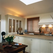 The view of a kitchen - The view cabinetry, ceiling, countertop, cuisine classique, interior design, kitchen, living room, real estate, room, window, window covering, gray, brown